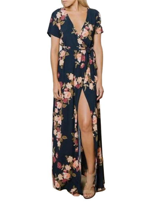 Chellysun V-neck Floral Print Evening Dresses