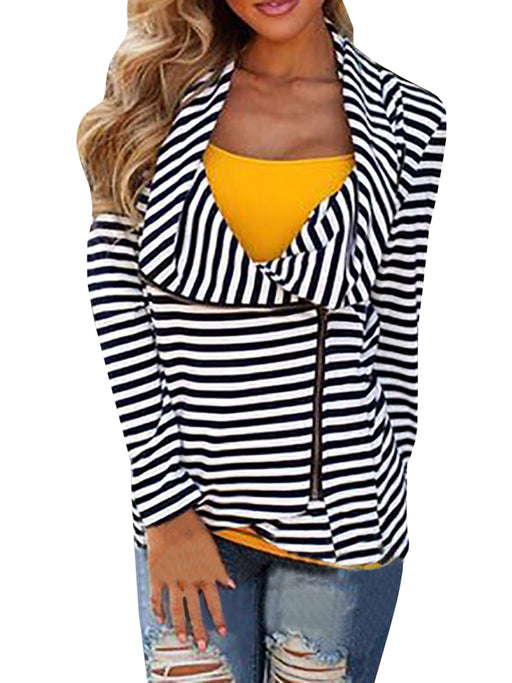 Chellysun Women's Fashion Irregular Neck Striped Shirt - Chellysun