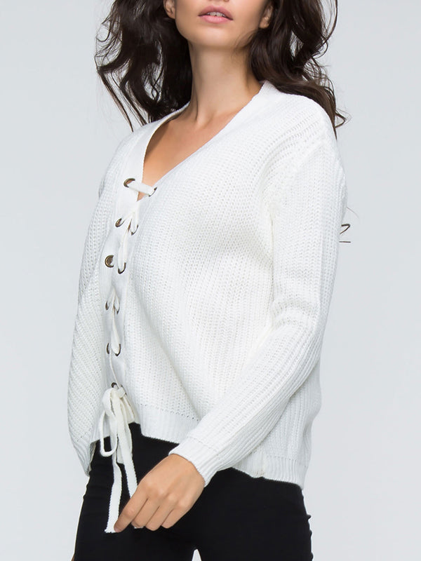 Chellysun Lace Up Front Long Sleeve Knit Jumper