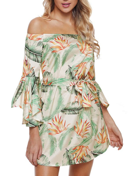 Chellysun Casual Floral Off Shoulder Dress
