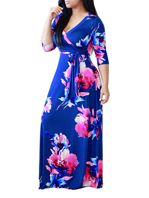 Chellysun V-neck Floral Belt Maxi Dress