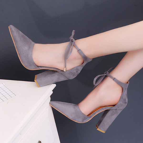 Chellysun Strap Pump Point Chunky Heels