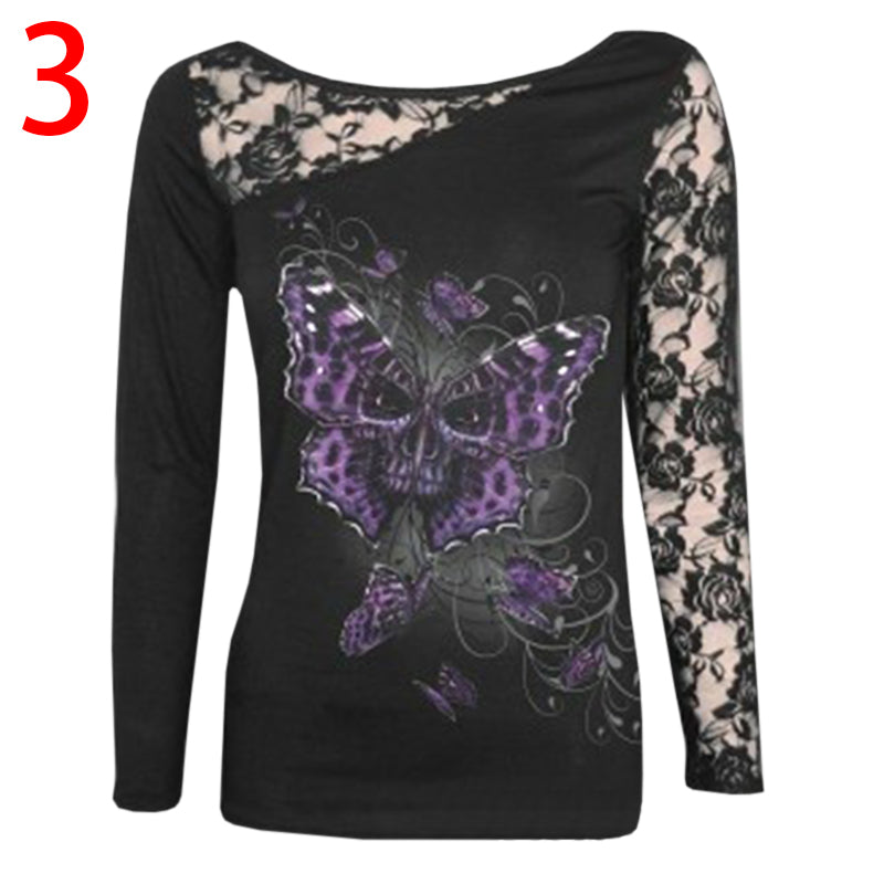 Chellysun Punk Style Lace Long-sleeved T-shirt Tops