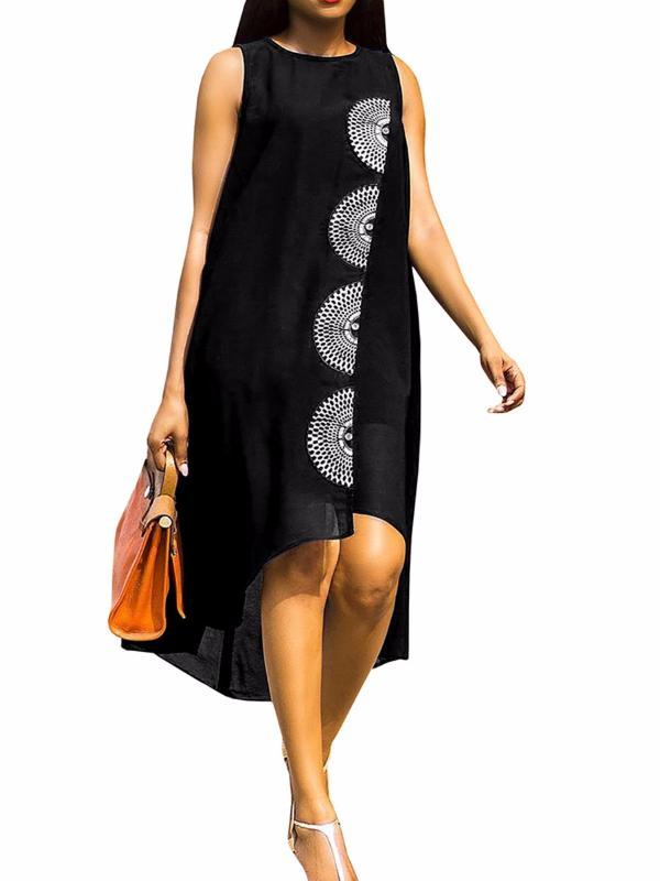Chellysun Womens Comfortable Sleeveless Loose Irregular Skirt Dress