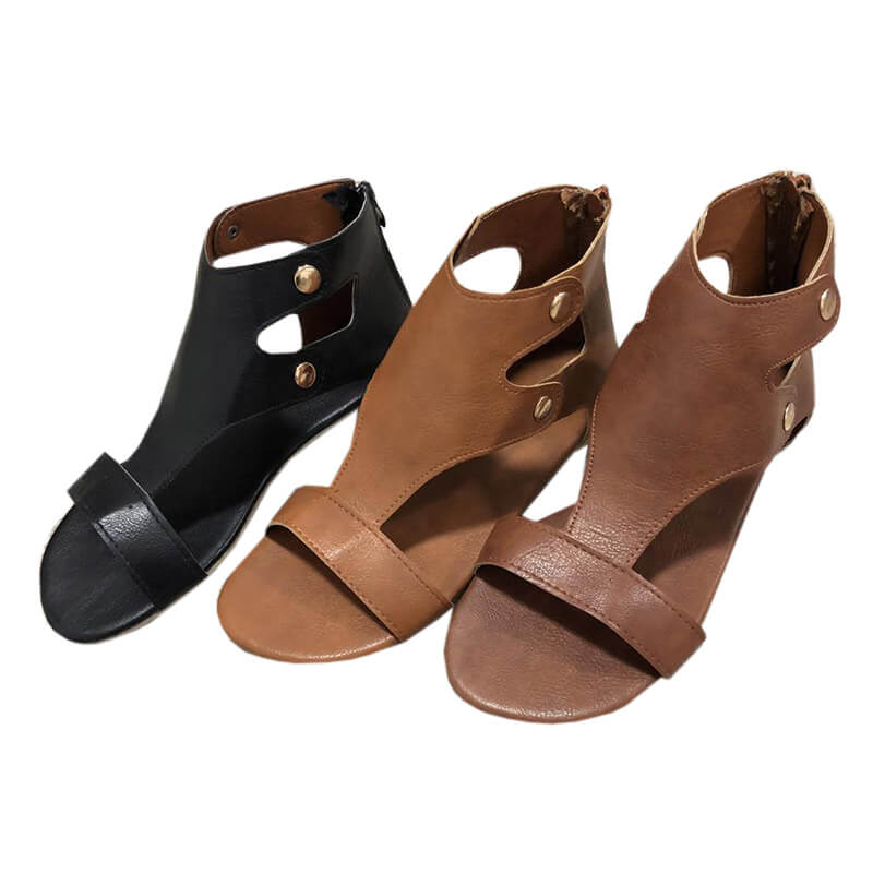 Chellysun Ankle Strap Flat Leather Sandals