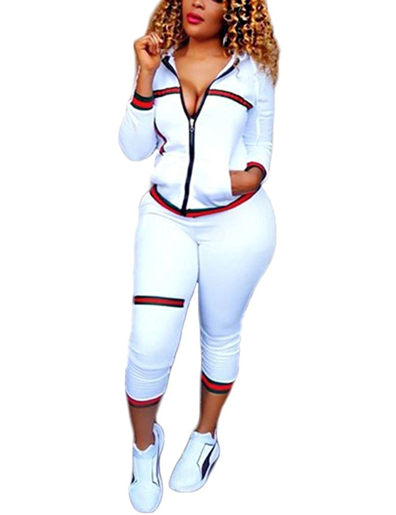 Chellysun Womens Solid Color Zip 2-Pieces Tracksuits