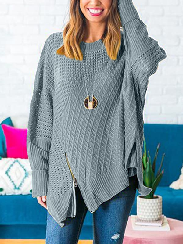 Chellysun Oversize Cold-Shoulder Pullover Sweater