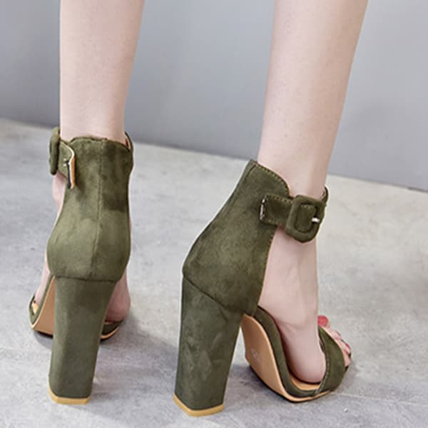 Chellysun Women Suede Thick  Ankle Heels