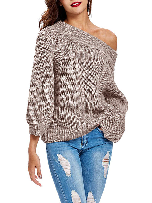 Chellysun Khaki Sexy Off The Shoulder Sweater