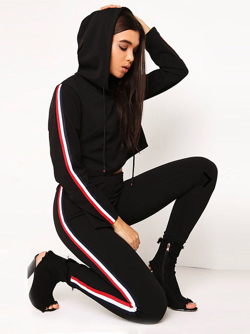 Chellysun 2018 Spring splicing ribbon hooded sports suit - Chellysun