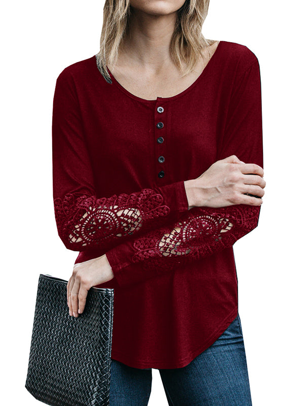 Chellysun Round Neck Button Long Sleeve Sexy Lace Top