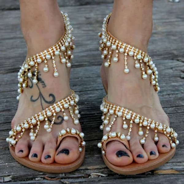 Chellysun Leather Sandals Casual Pearls Shoes