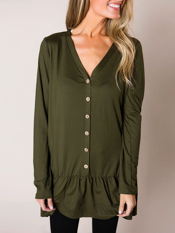 Chellysun Long Sleeve Button Blouse