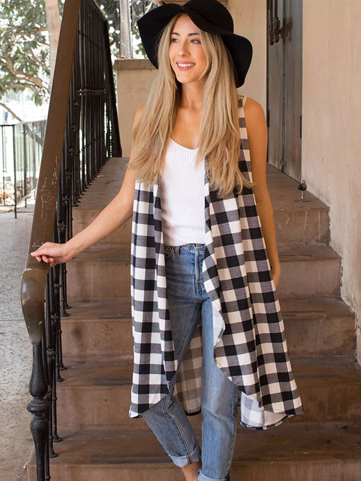Chellysun Women's Plaid Long Cardigan