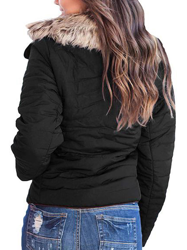 Chellysun Faux Fur Collar Zip Up Quilted Jacket