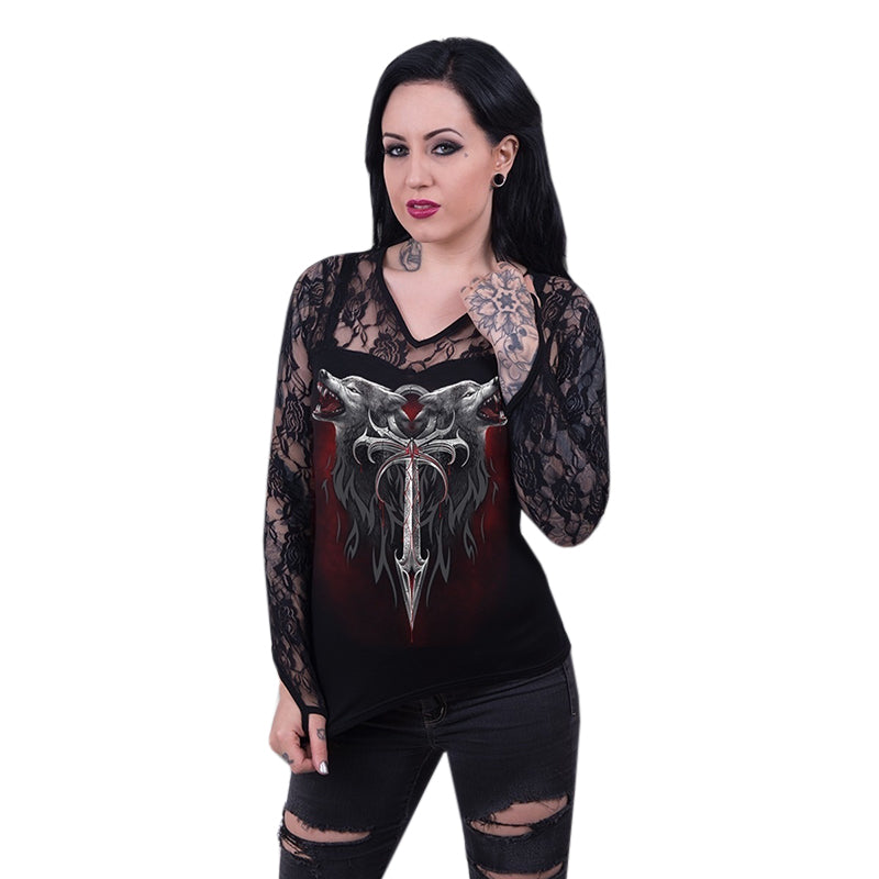Chellysun Punk V-neck Lace Long-sleeved Shirts Tops
