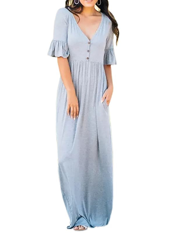Chellysun Casual Solid Long Dress