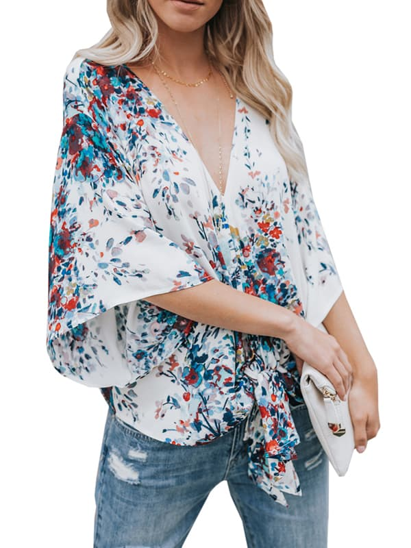 Chellysun Casual Floral V-Neck Summer Tops