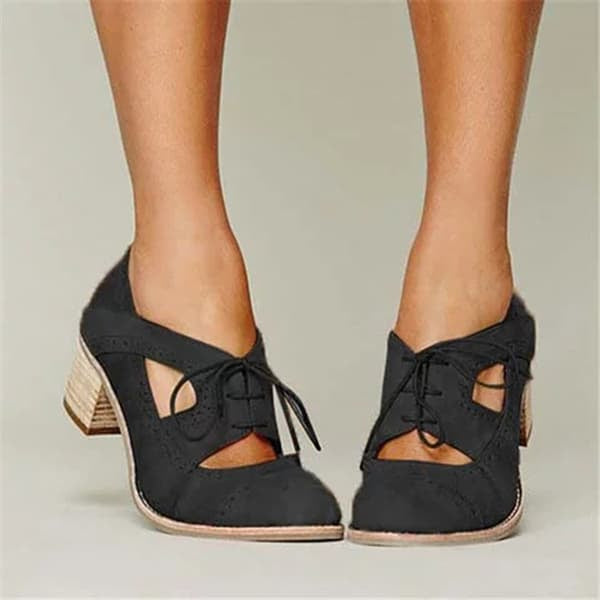 Chellysun Cutout Lace-up Oxford Shoes