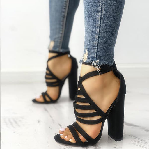Chellysun Strappy Open Toe Stiletto Sandals