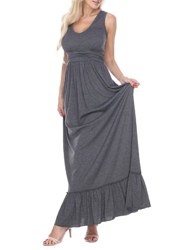 Chellysun Casual Solid Sleeveless Long Dress