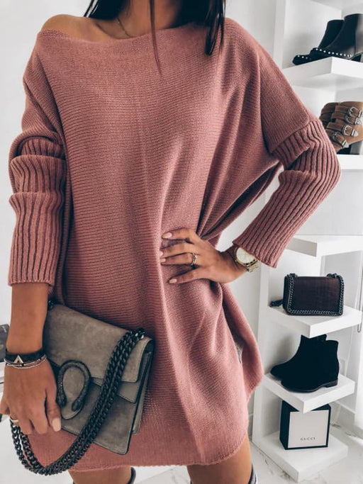 Chellysun Solid Casual Knitted Sweater Dress