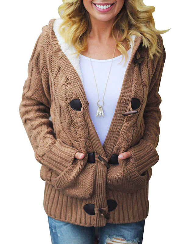 Chellysun Button Up  Hooded Cable Cardigan