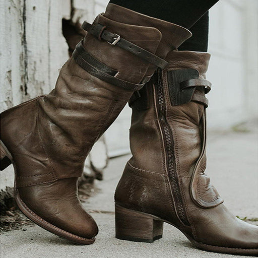 Chellysun Zipper Leather Ankle Boots