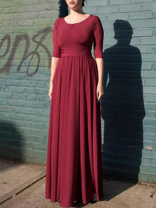 Chellysun Solid Casual Pleated Long Dress
