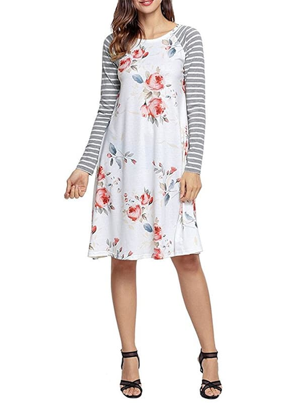 Chellysun Casual Floral Long Sleeve Dress