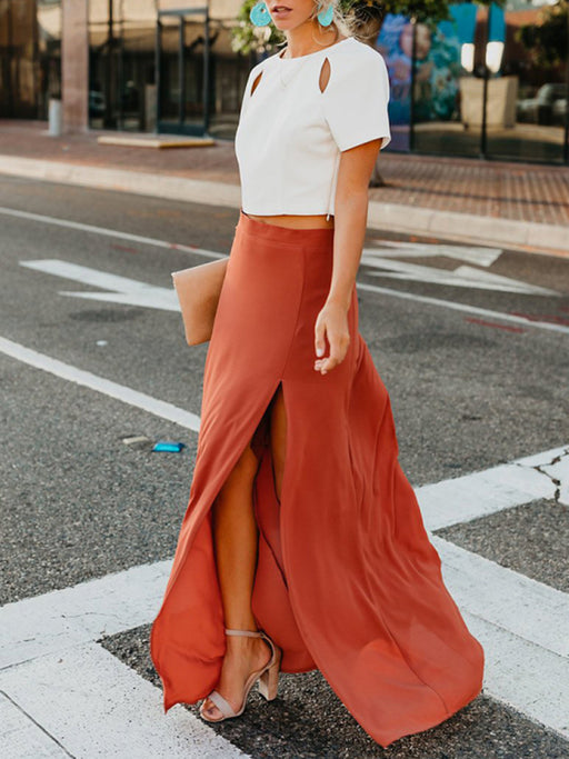 Chellysun Casual Solid Long Skirt