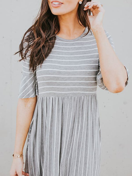 Chellysun Casual Striped Simple Midi Dress