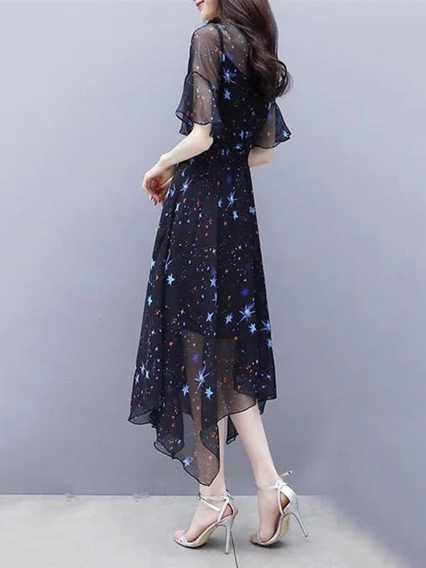 Chellysun Casual Printed Soft Chiffon Dress