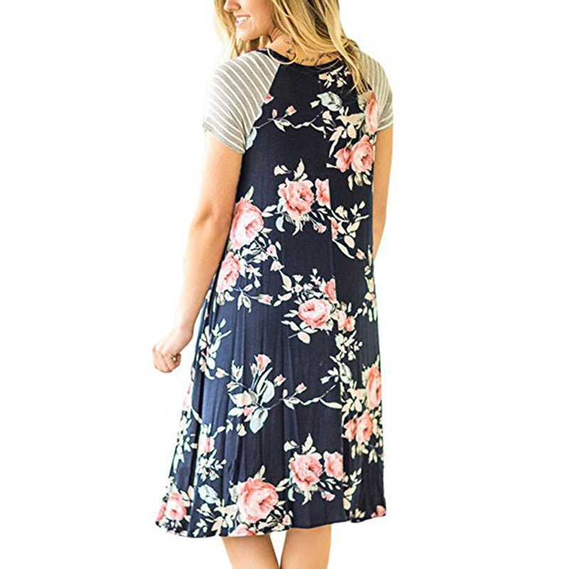 Chellysun Floral Print Loose Round Neck Dress