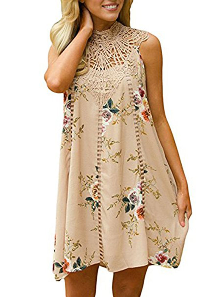 Chellysun Floral Lace Hollow Out Sleeveless Dress