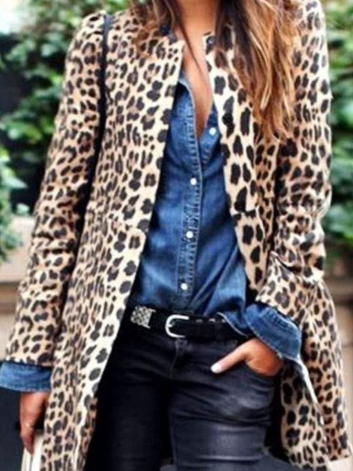 Chellysun Leopard Print Fashion Casual Long Coat