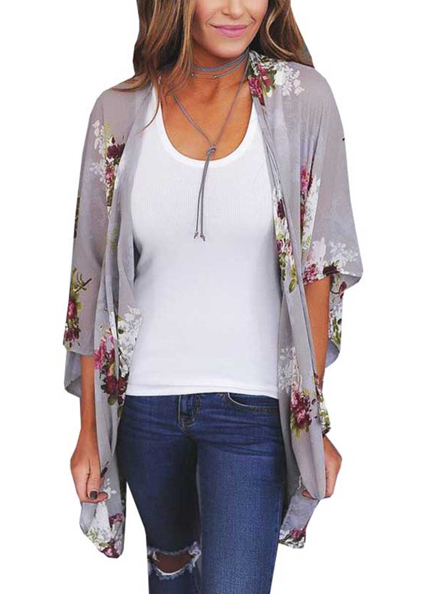 Chellysun Women Printed Flowers Cardigan Comfortable Shirts - Chellysun