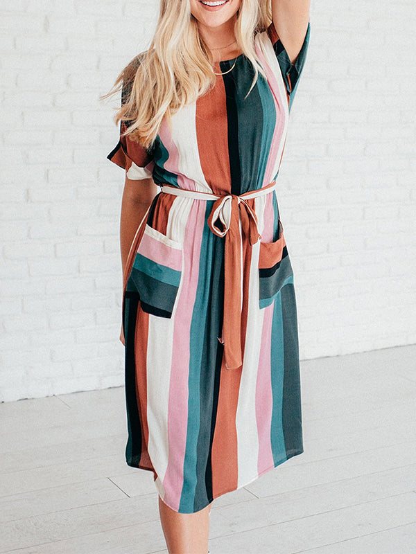 Chellysun Striped Round Neck Maxi Dress