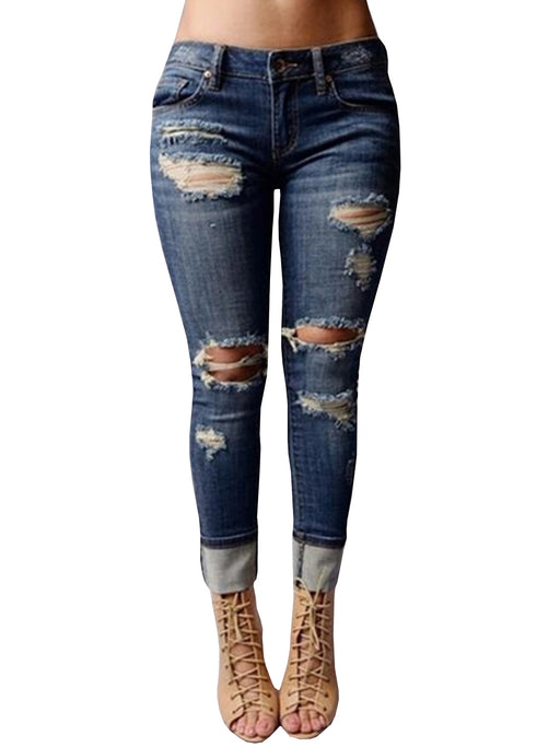 Chellysun Middle Waisted Hole Tight Jeans