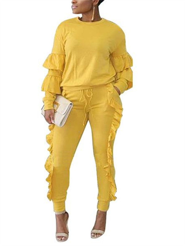 Chellysun Two Piece Puff Sleeve Tracksuits