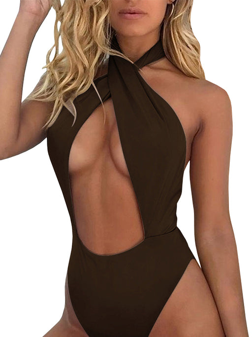 Chellysun High Neck Halter Style One Piece Swimsuit
