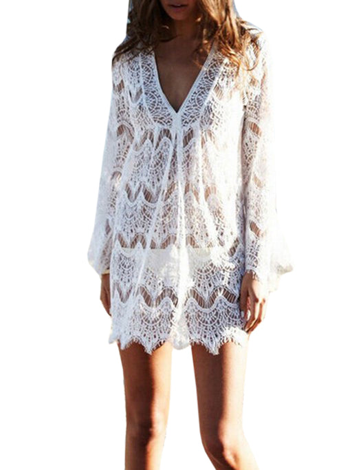 Chellysun Lace Crochet Tunic Cover Up