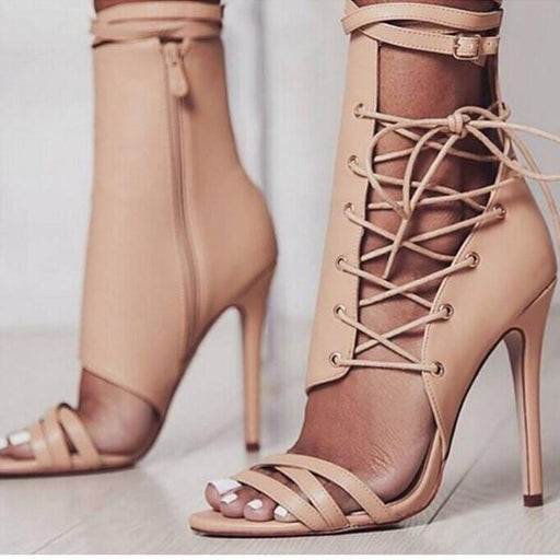 Chellysun Lace Up Strappy High Heels