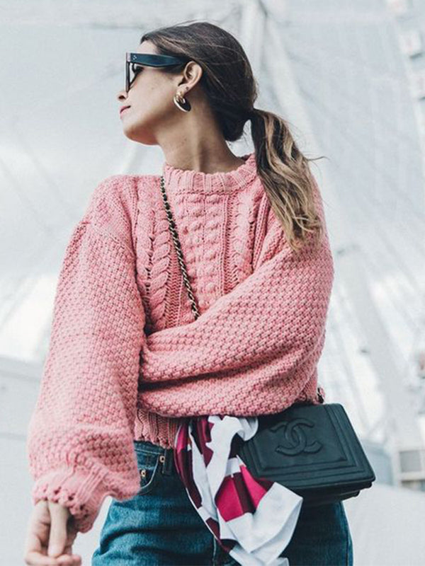 Chellysun Fall Round Neck Pink Sweater