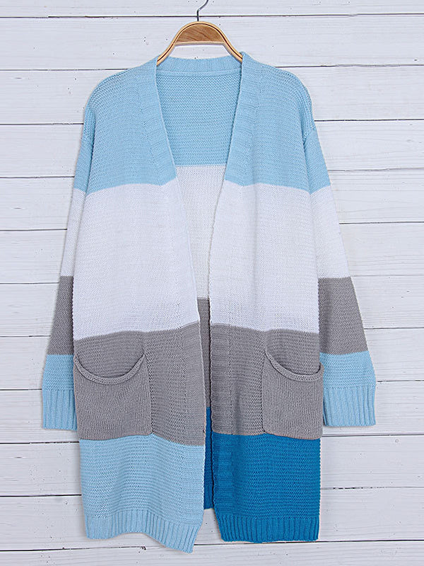 Chellysun Color Striped Knitted Cardigan