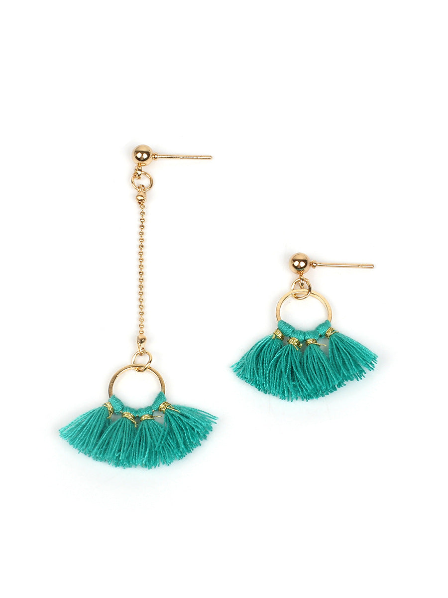 Chellysun Circle Fan-Shaped Silk Cotton Earrings