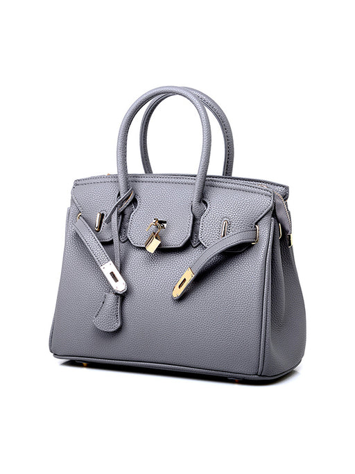 Chellysun Luxury Lock Studded Leather Tote