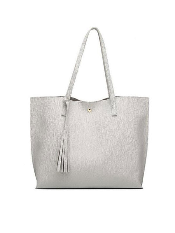 Chellysun Solid Color Leather Tote Bag