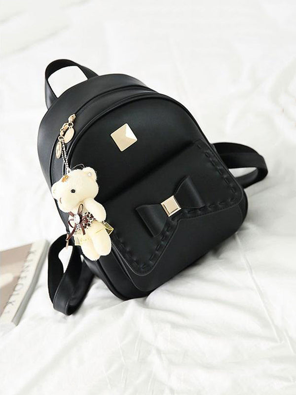 Chellysun Cute Bear Pendant School Bag