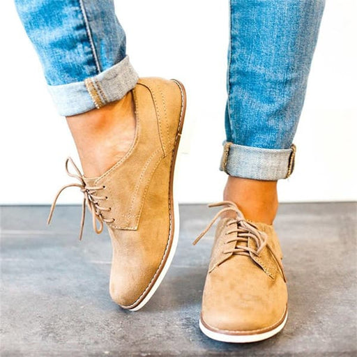 Chellysun Low Heel Lace-up Daily Oxford Boots